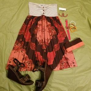 Cute 2 pattern strapless dress